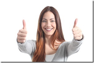 Beautiful Woman Smiling With Both Thumbs Up